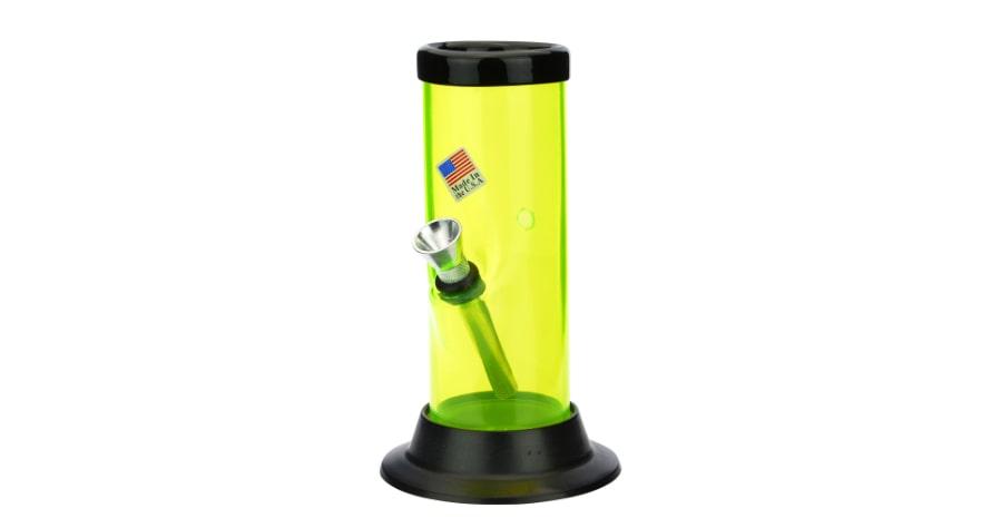 Acrylic Straight Bong Neon Yellow