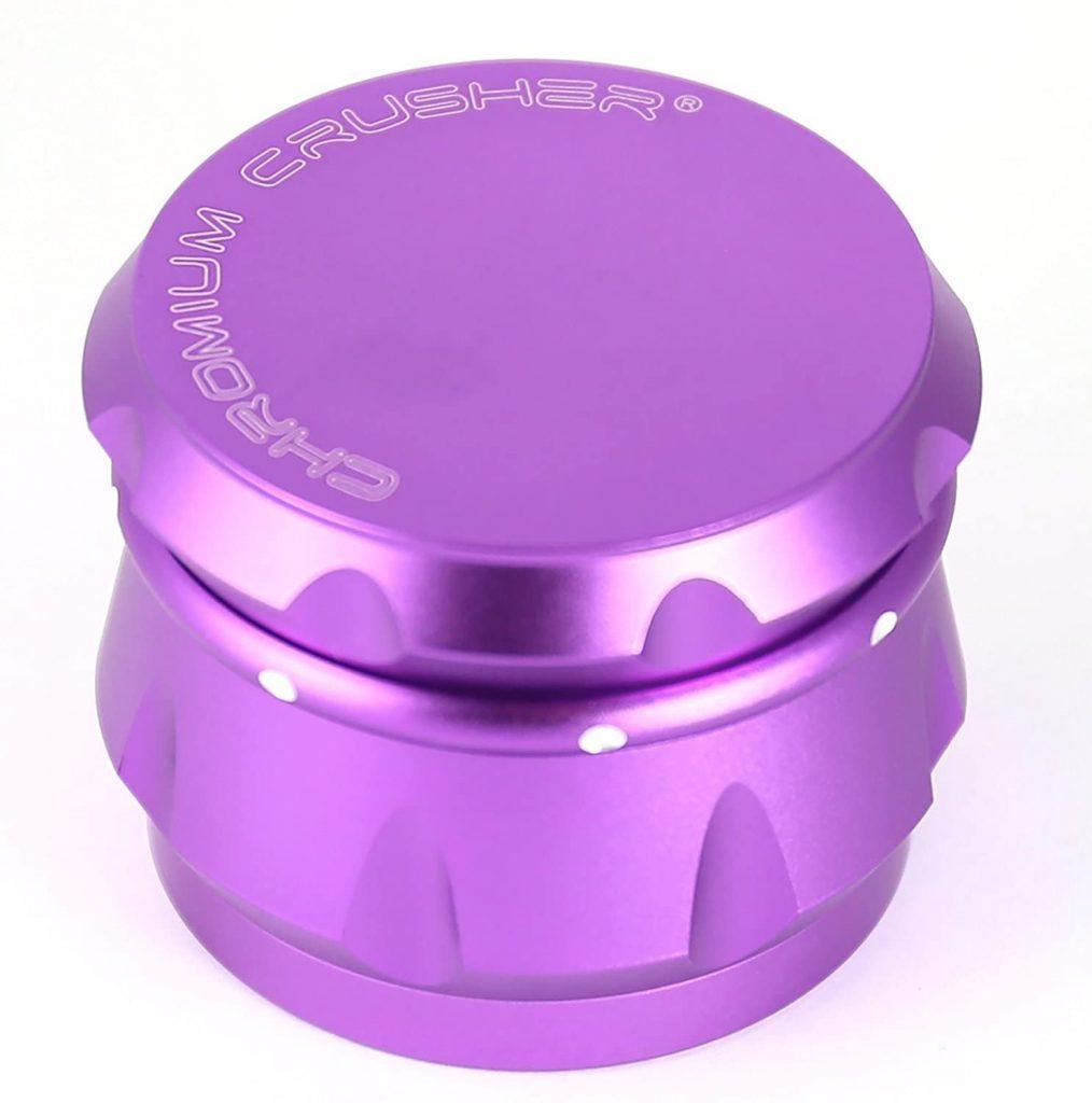Chromium Crusher Drum 2.5 Inch 4 Piece Tobacco Spice Herb Grinder -Purple