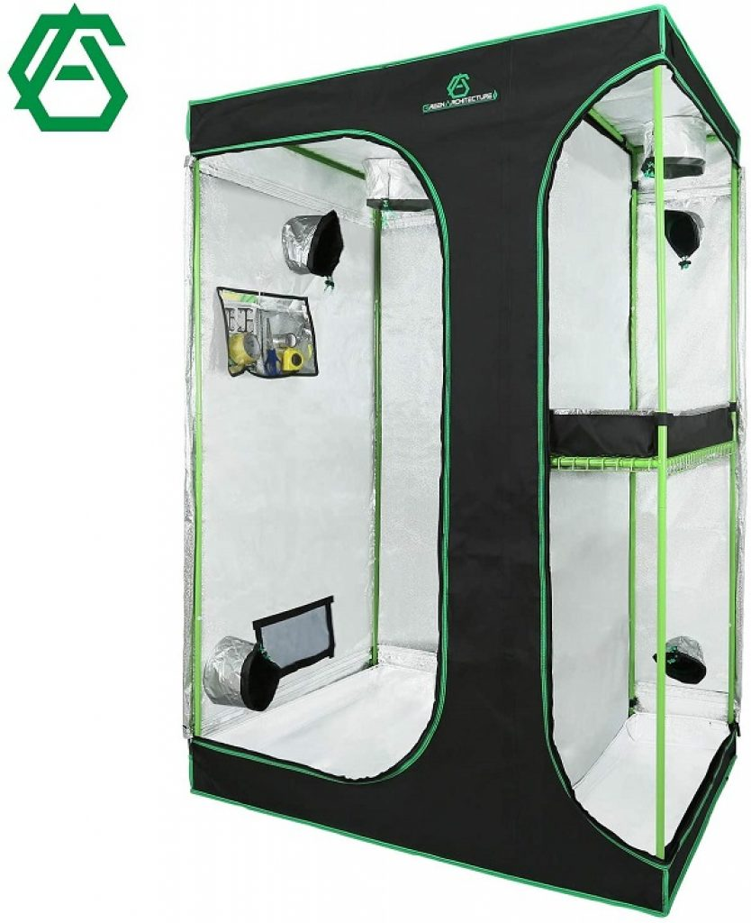 GA 2-in-1 Grow Tent Reflective Mylar Hydroponic Grow Tent with Observation Window and Waterproof Floor Tray for Indoor Plant Growing