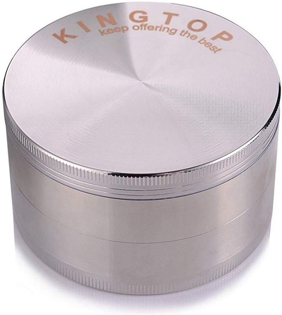 KINGTOP Herb Spice Grinder Large 3.0 Inch Silver