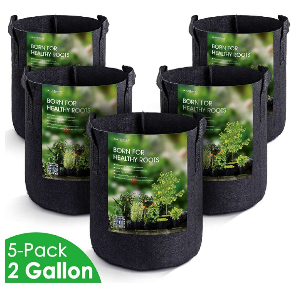 MAXSISUN-5-Pack-2-Gallon-Plant-Grow-Bags-Heavy-Duty-Thickened-Non-Woven-Aeration-Fabric-Pots-Container-with-Reinforced-Handles-for-Gardening