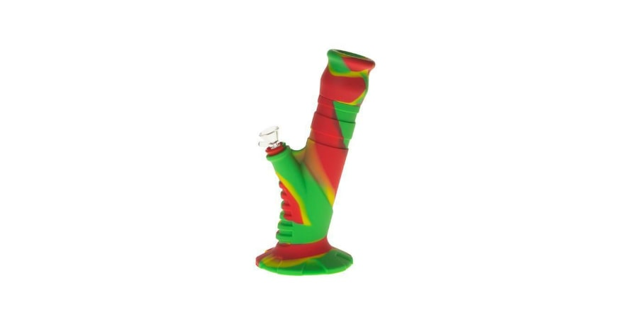 Silicone 2 pc Herb Bong Green and Red