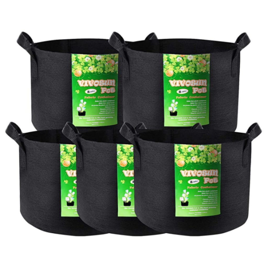 VIVOSUN-5-Pack-2-Gallon-Grow-Bags-Heavy-Duty-Thickened-Nonwoven-Fabric-Pots-with-Handles