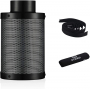 G HYDRO 6 Inch Air Carbon Filter with Australia Virgin Activated Charcoal Prefilter Included Odor Control Scrubber for Grow Tent Indoor Plants Inline Fan